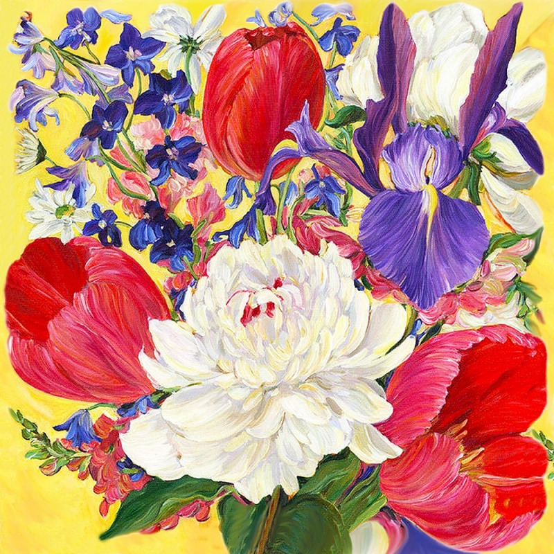 """Купить оптом Алмазная картина-раскраска """"Весенние цветы ..."""